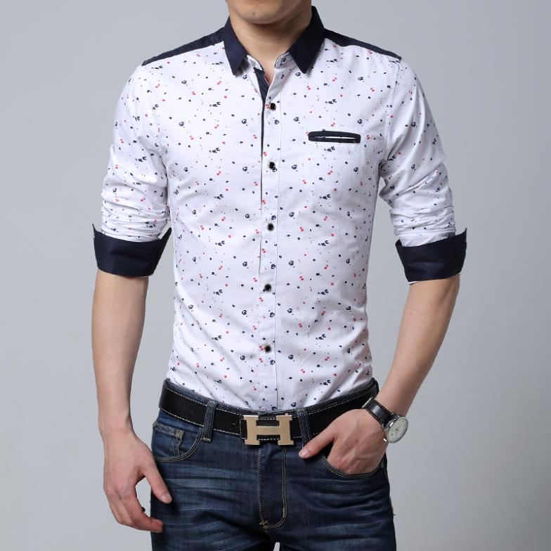 Men Long Sleeve Shirt Casual Slim Fit Cotton Printed Male Black