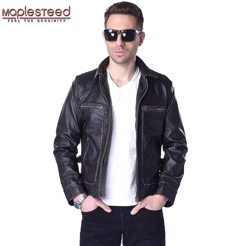 Factory Genuine Leather Jacket Men Calf Cowhide Skin Brand Vintage Retro Brown Bomber Motorcycle Biker Men's Winter Coat ZH166