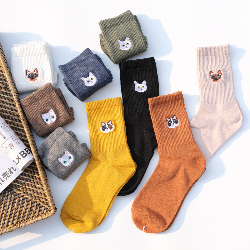 Cat And Dog Pure Cotton Woman Harajuku Cartoon Animal Silver Dollar Manual Embroidery funny   Socks   & hosiery women Autumn Winter