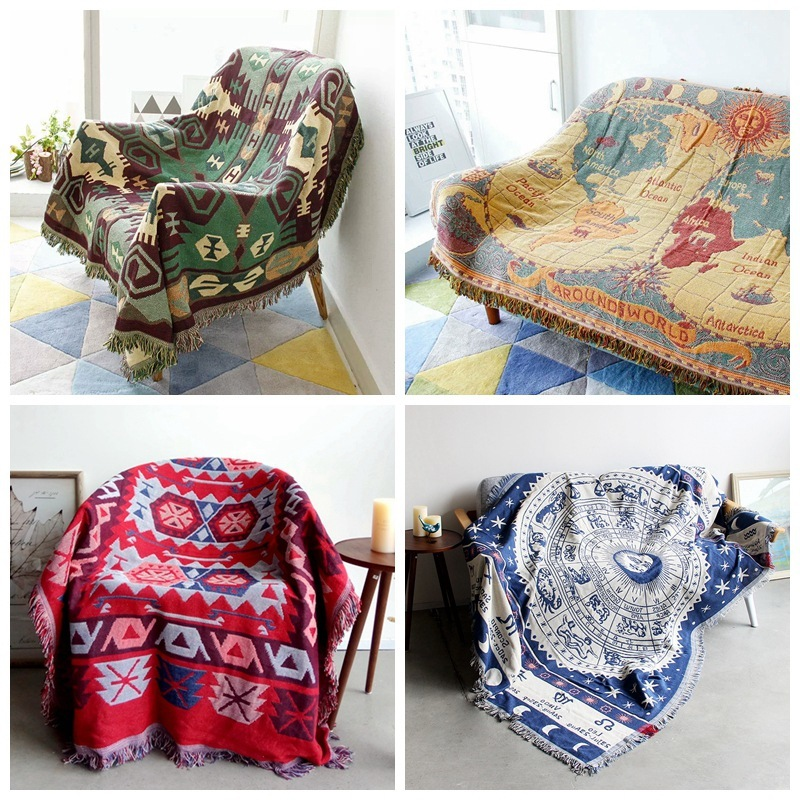 Decorative Cotton Kintted Bohemian Blanket Sofa Cover Countryside Design Slipcover Throws for Adults 130x180cm