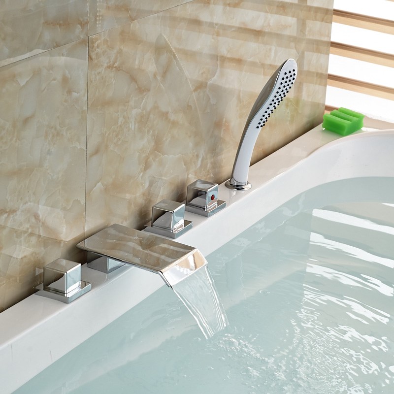 Three Square Knobs Widespread Waterfall Tub Mixer Faucet Bathroom ...