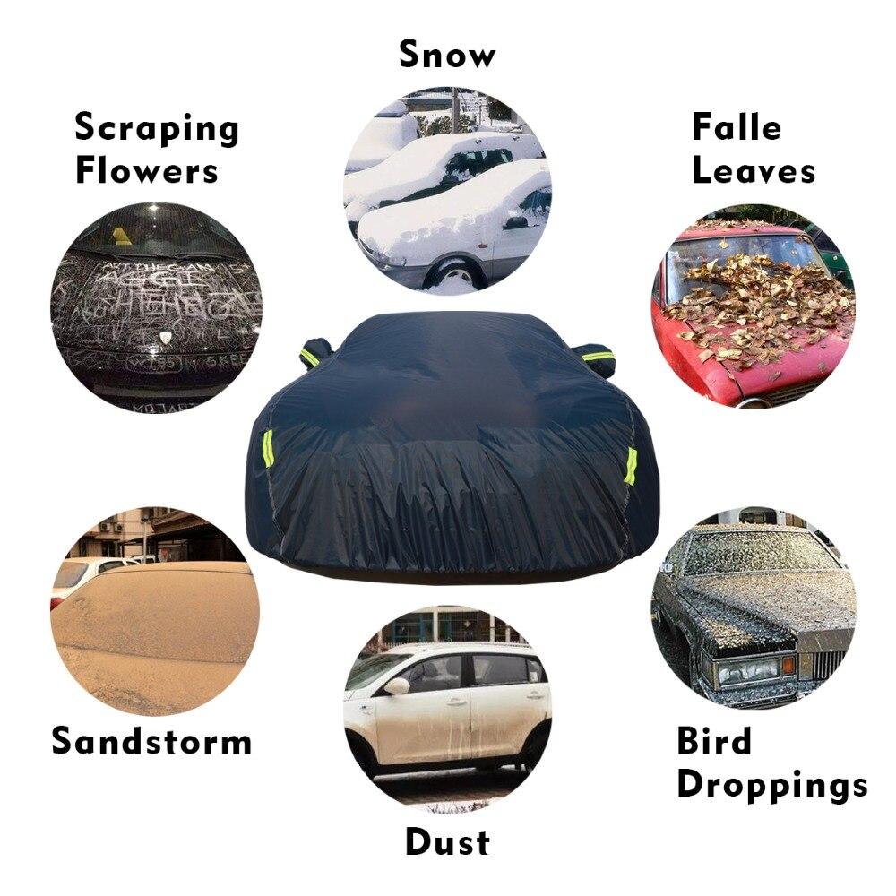 9 taille imperméable bâches de voiture couverture de protection solaire extérieure pour voiture réflecteur poussière pluie neige protection suv berline hayon complet - 4