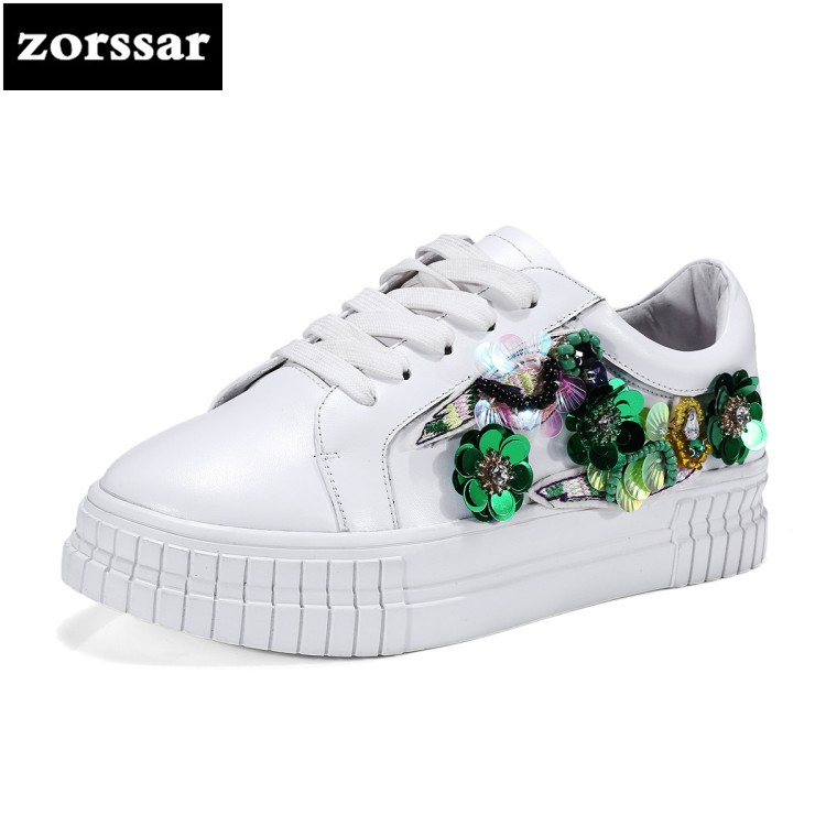 {Zorssar} Brand 2018 NEW Women Sneakers Lace-up Casual Flats Shoes Cow Leather Female Lazy Shoes Ladies White Student shoes instantarts casual women s flats shoes emoji face puzzle pattern ladies lace up sneakers female lightweight mess fashion flats