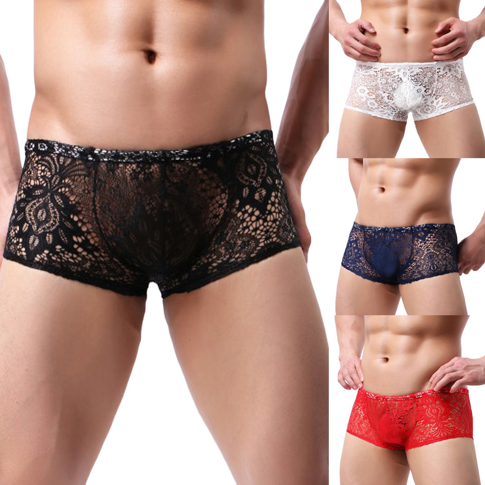 Underwear Male Shorts Boxers Sexy Breathable Fashion Lace Mens