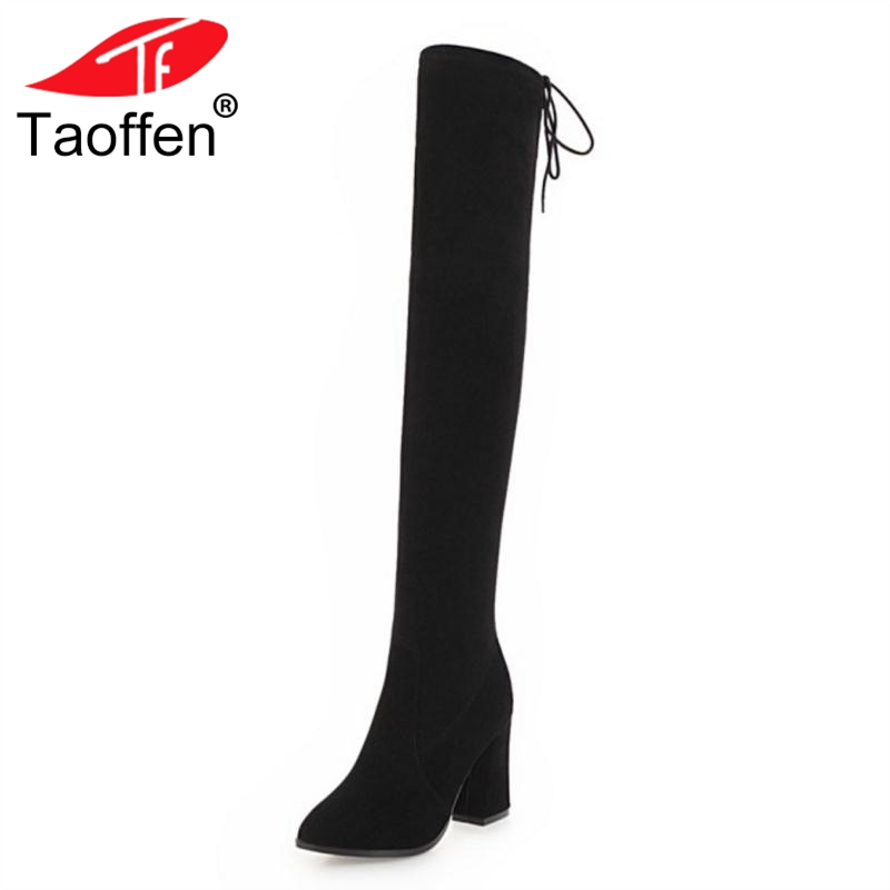 TAOFFENSize 33-43 Women High Heel Boots Genuine Leather Thick Heels Zipper Over Knee Botas Simple Fashion Long Boots