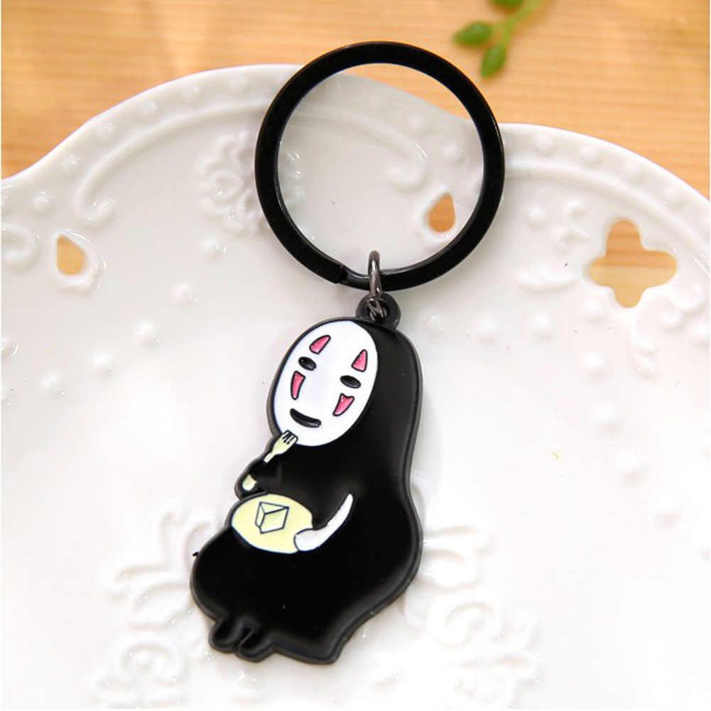 Miyazaki Anime Spirited Away Keychain No Face Man Key Chains Kaonashi Cute Voyage Of Chihiro Figures Keyring Pendant