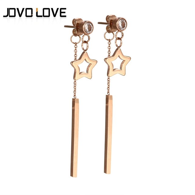 Rose Gold Color Star Dangle Earrings For Women High Polished Female Long Simple