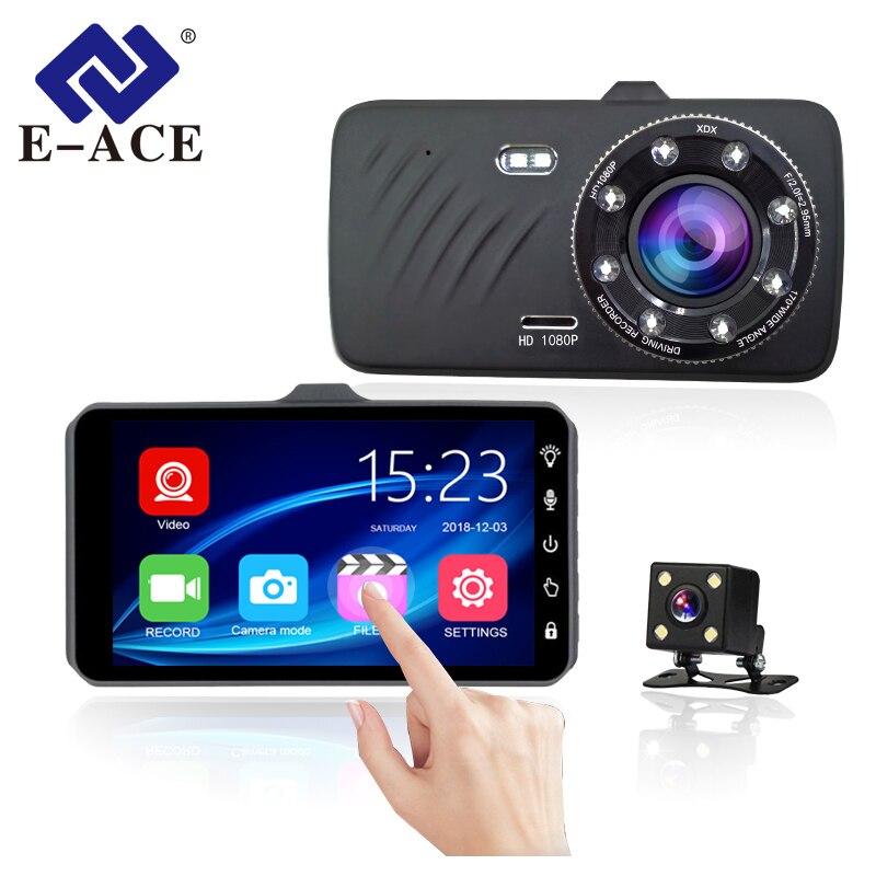 E-ACE Voiture DVR 4 pouce Tactile Auto Caméra Double Lentille Dashcam FHD 1080 p Registrator Avec Vue Arrière Caméra Dash cam Vidéo Enregistreur
