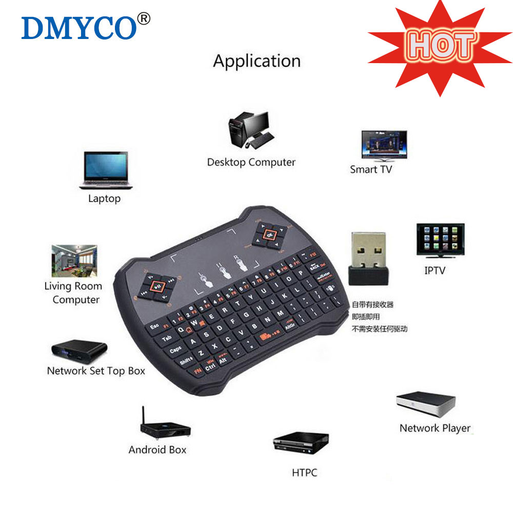 Mini Wireless USB Keyboards Russian Hebrew English QWERTY Air Mouse Touchpad For TV Box Laptop Desktop