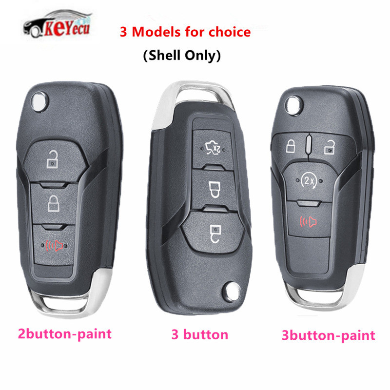 KEYECU New Flip Remote Car <font><b>Key</b></font> Shell Case for <font><b>Ford</b></font> <font><b>Fusion</b></font> Edge Explorer 2013 2014 <font><b>2015</b></font> (Shell Only)HU101 blade FCC ID:N5F-A08TAA image