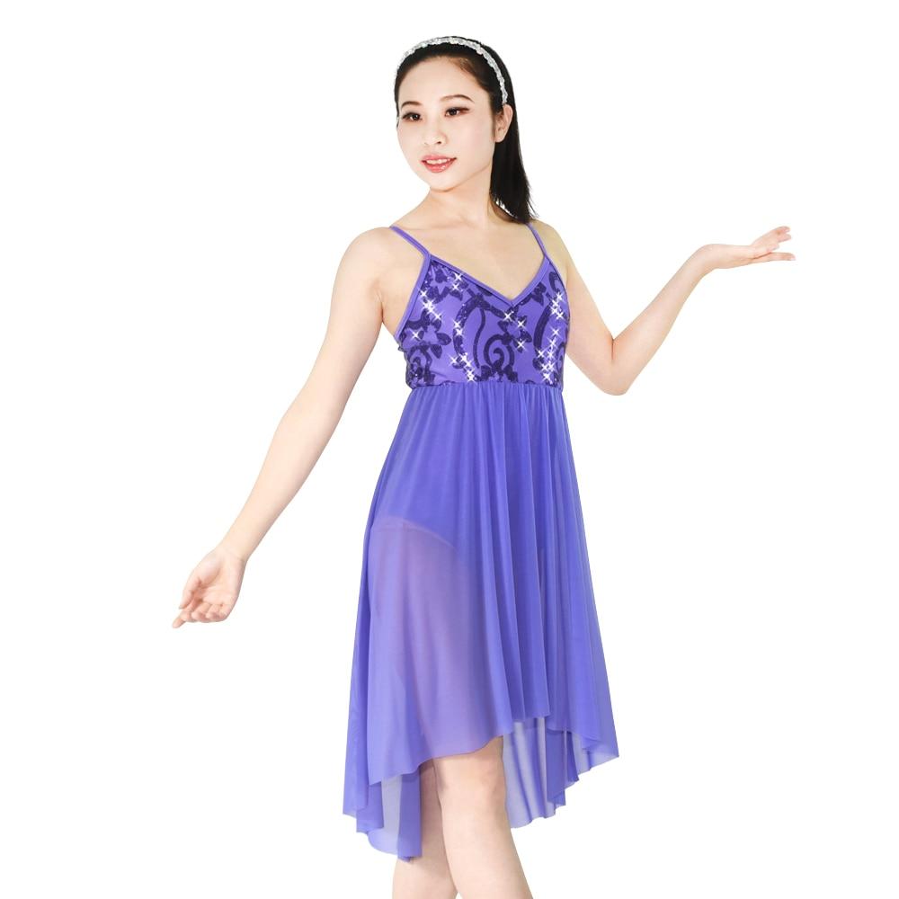 ᗛLentejuelas elegante Lyrical danza patinaje de rendimiento trajes ...