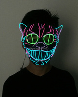 For Night Club Cold Light Camouflage Animal Cat Face Holiday Lights Neon Wire Led Cartoon Mask