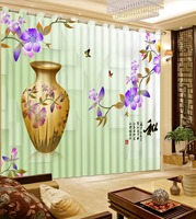 Chinese Style 3D Curtain Drapes For Bedroom Living Room Blackout Window Curtains with Grommets Hooks
