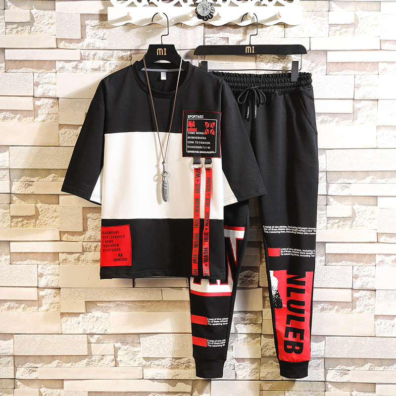 Tracksuit Men Sets Fashion Casual Letter Printed Short Sleeve T Shirts + Pant Summer Sport Mens Track Suit Set Hip Hop
