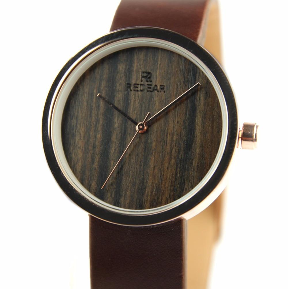 ФОТО REDEAR Women Watches Top Brand Luxury Wooden Watch Fashion Genuine Leather Strap Quartz Wristwatches Clock Relogio Feminino