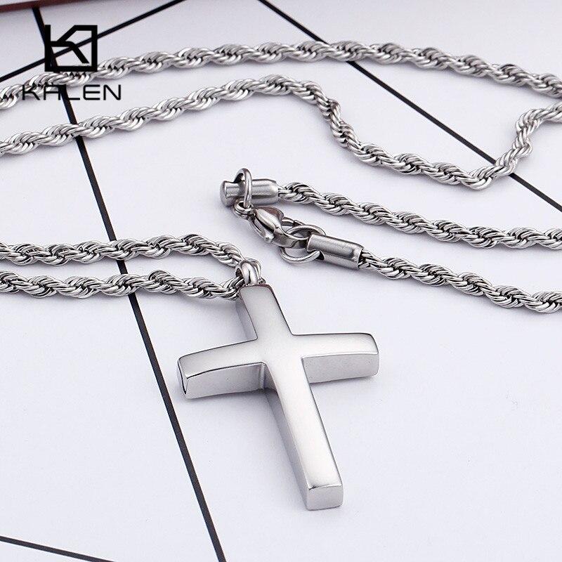 Kalen Neue Trendy Kreuz Halskette Für Männer Hohe Poliert 60 cm Edelstahl Gold Farbe Kreuz Anhänger Halskette Männlich Günstige schmuck