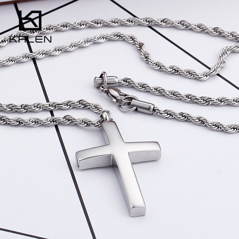 Kalen New Trendy Cross Necklace For Men High Polished 60cm Stainless Steel Gold Color Cross Pendant Necklace Male Cheap Jewelry цена