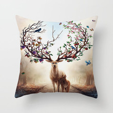 Fuwatacchi Christmas Elk Cushion Cover Tree Deer Forest Printed Sofa Throw Pillow Car Chair Home Decor Soft Pillow Case