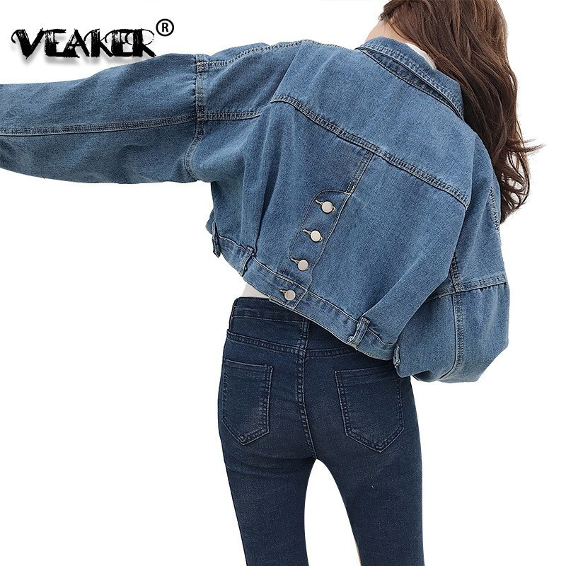 Denim Jacket Korean Women Short Jacket Classic Light Blue Denim Coat Oversize Relaxed Fit Tops Long Sleeve Jean Outwear Female