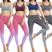 2 PCS Women Sport Bras + Sports Pants Yoga Set for Running Gym Fitness Sportwear Top Push Up Bras Elastic Pants Tights Suits