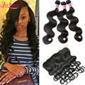 7A Malaysian Virgin Hair With Closure 13x4 Body Wave Ear to Ear Lace Frontal Closure With Bundles With Lace Frontal Human Hair