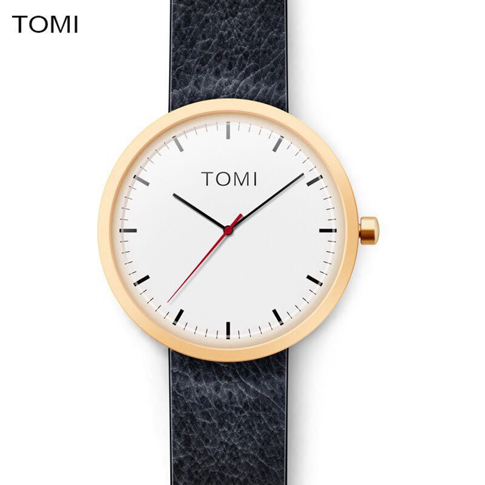 Tomi Brand Watches Men Fashion Simple Black Leather Strap Business Quartz Wrist Watch Luxury Military Creative Man Clock Watch disu top brand 2017 men watches fashion simple quartz wrist watch business leather strap male sport rose gold dial clock ds039