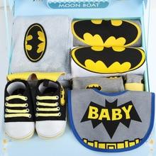 Детские Подарки/Расширенный Бэтмен ребенка ползунки + Брюки + Шляпы + обувь + Одеяло + Подарочные Коробки/Детские Рождения Подарки/Baby Set