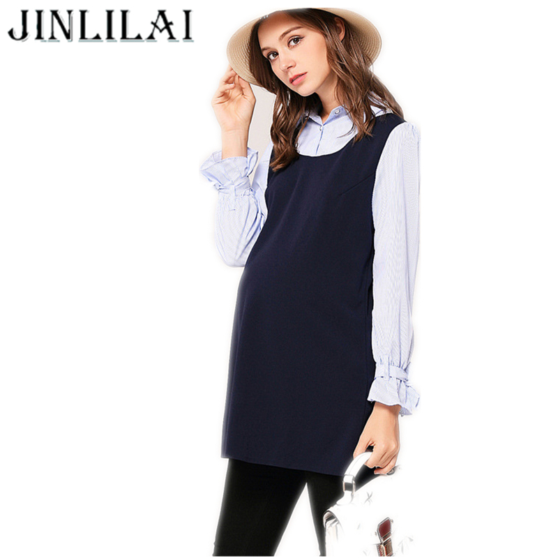 JINLILAI 2017 Pregnancy Maternity Clothes  Autumn And Winter Fashion Stitching Long Sleeves Lapel Dress For Pregnant Women M-XXL maternity dresses in autumn and winter long sleeve turtleneck clothes for pregnant women pregnancy clothing 2017 autumn q41