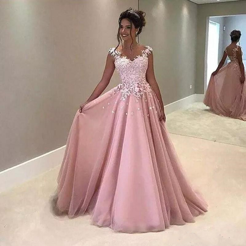 Vintage Light Pink Tulle   Prom     Dresses   For Elegant Ladyies With Lace Appliques Sheer Back Evening Gowns Formal Party Gowns Longo