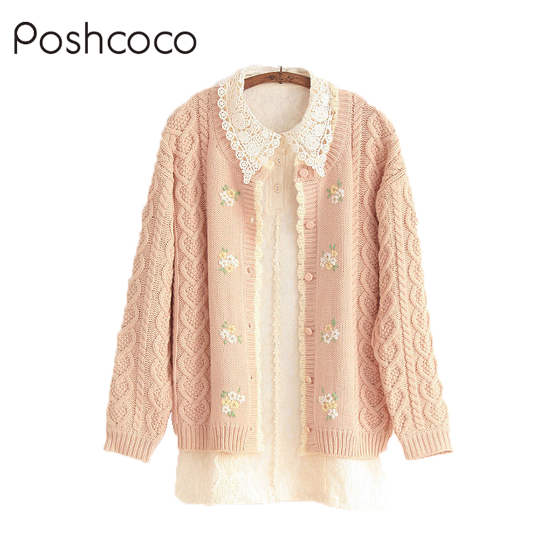 Poshcoco Mori Girl Casual Cute Wave Edge Knitted Women Cardigan ...