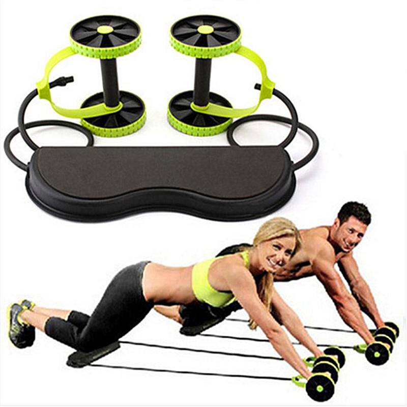 2018New Muscle Exercise Equipment Home Fitness Equipment Two-Wheel Abdominal Strength Wheel Ab Wheel Gym Wheel Trainer