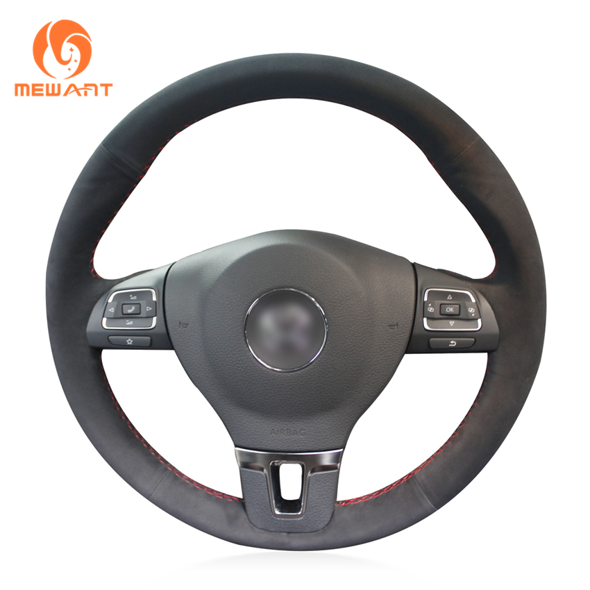 MEWANT Black Suede Car Steering Wheel Cover for Volkswagen VW Gol Tiguan Passat B7 Passat CC Touran Jetta Mk6 wisengear led turn signal corner light lamp door rearview mirror cover cap for volkswagen vw beetle cc passat b7 jetta mk6 eos