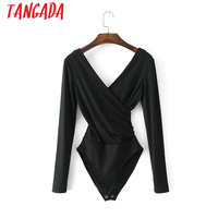 Tangada Fashion Women Long Sleeve Bodysuit Black White Knit Body Suit Sexy Backless Stretch Shirt V Neck Ladies Playsuit PDL06