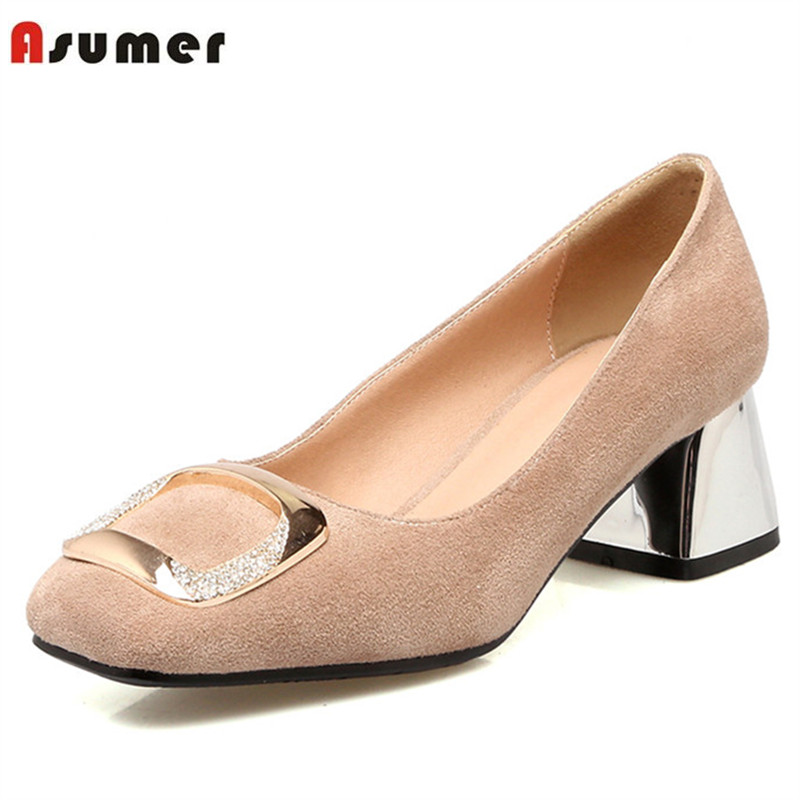 Asumer Spring autumn high heels shoes shallow square toe party shoes fashion elegant flock single shoes large size 34-48 asumer gold silvery fashion square toe buckle ladies single shoes spring autumn women high heels shoes big size 32 44