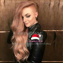 Pink Wig For Women Rose Gold Hair Synthetic Lace Front Wig Heat Resistant Pastel Rose Pink Color Wig 18-26″ Medium Long For 2017