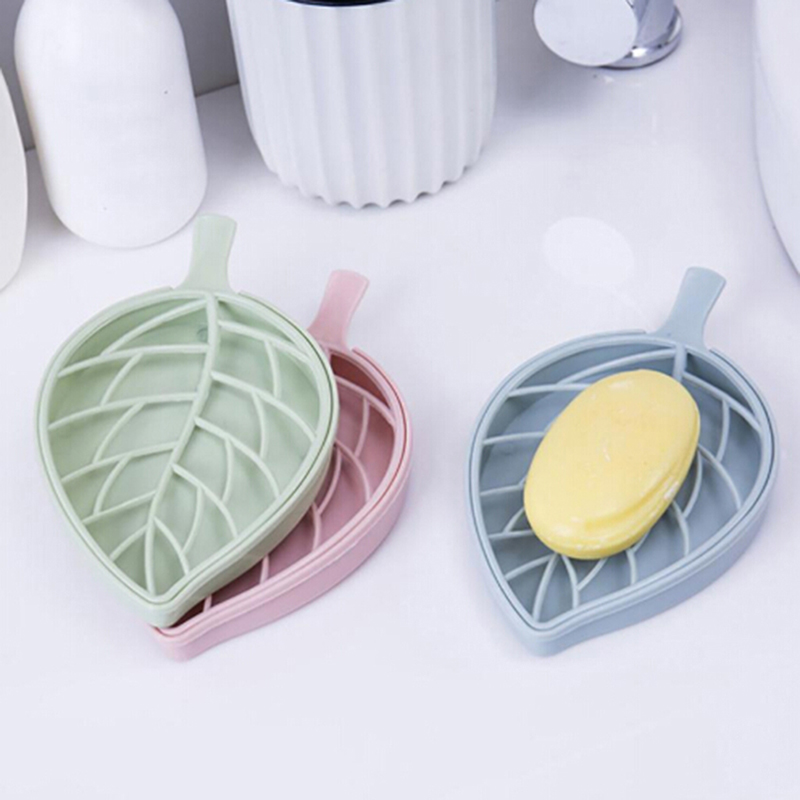 Candy Color Leaf Shape Soap Box Shower Tray Hiking Bath House Container Holder Travel New Soap Dish