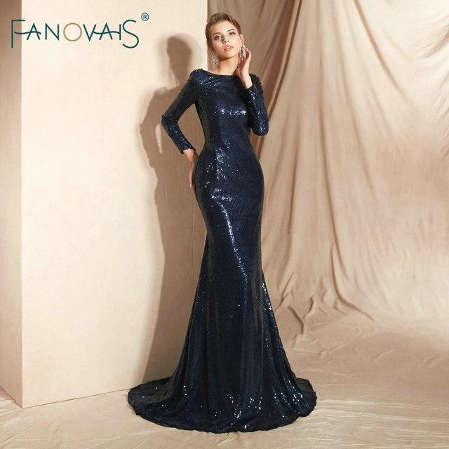 Dark Navy Mermaid Evening Dress Long Sleeves Formal Dress Women Elegant Vestido De Novia Evening Gowns Long 2019 Prom Dress