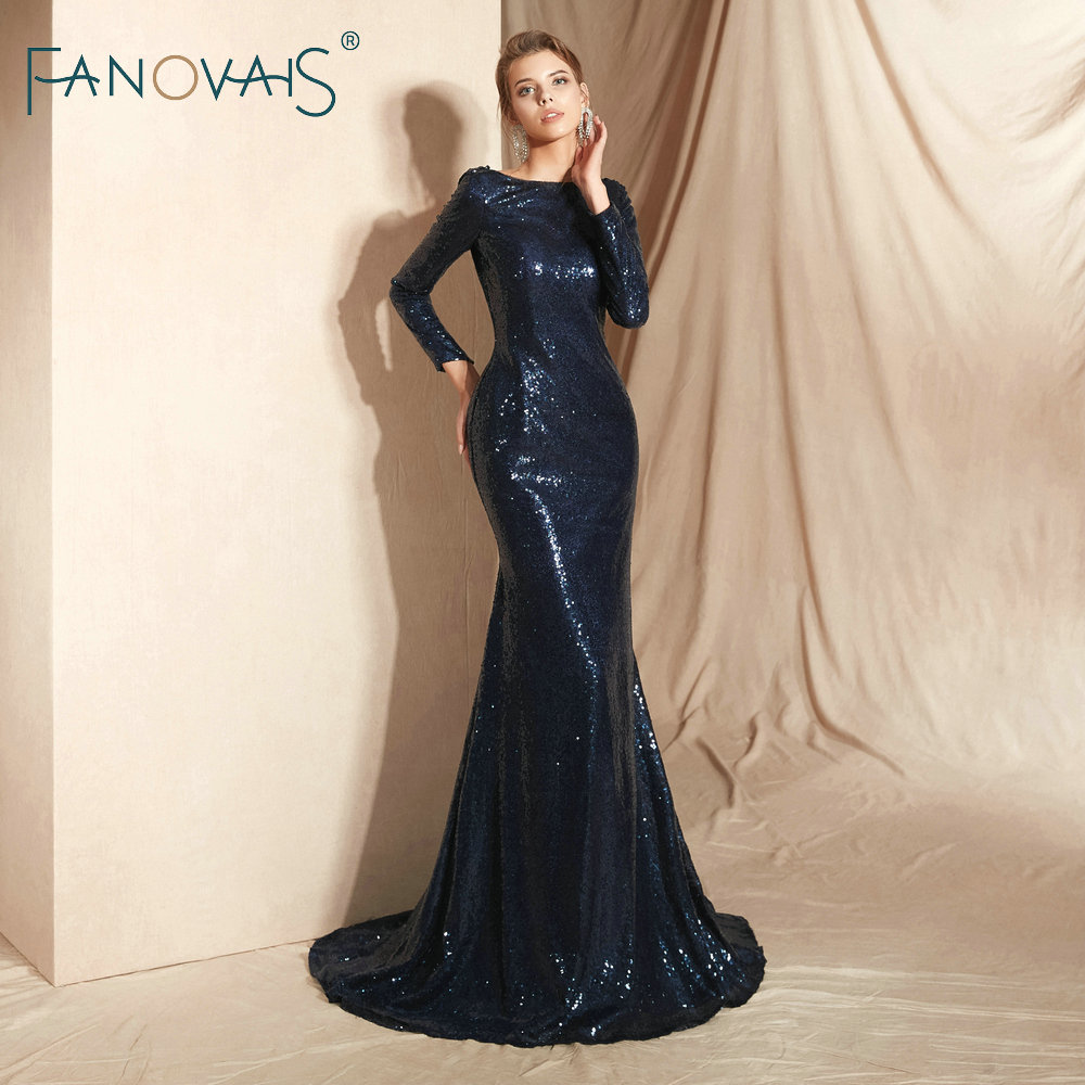 Dark Navy Mermaid   Evening     Dress   Long Sleeves Formal   Dress   Women Elegant Vestido De Novia   Evening   Gowns Long 2018 Prom   Dress