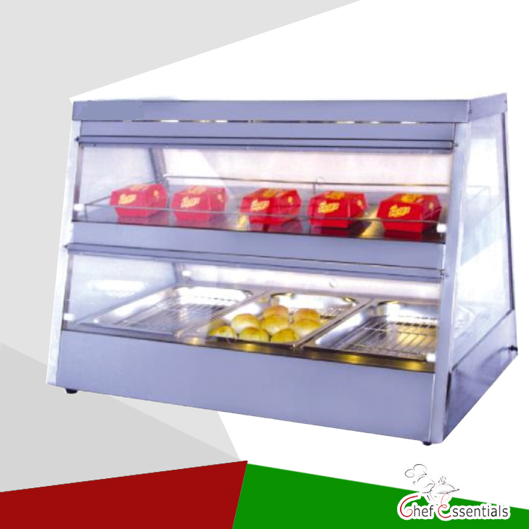 PKJG-DH1100 Fast Food Equipment for Supermarket 2-Layer Electric Display Showcase pkjg dh2x2 stainless steel fast food warmer food warmer fast food equipment food warming cabinet