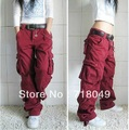 Carga Calças Das Mulheres Calças de Dança Hiphop Calças Macacões Multi-bolso da Calça Frete Grátis 4 Cores Plus Size
