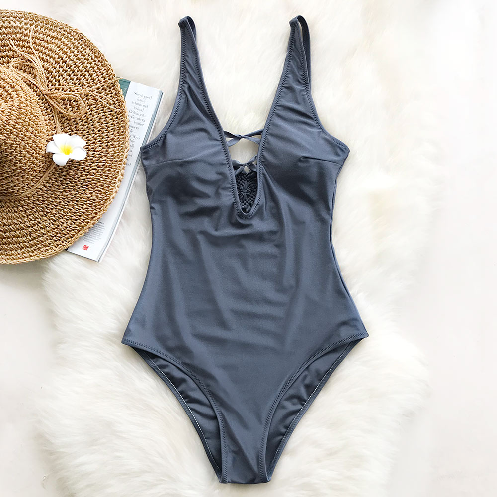 Cupshe Good Grace Solid One-piece Swimsuit Deep V neck Summer Sexy Bikini Set Ladies Bea ...
