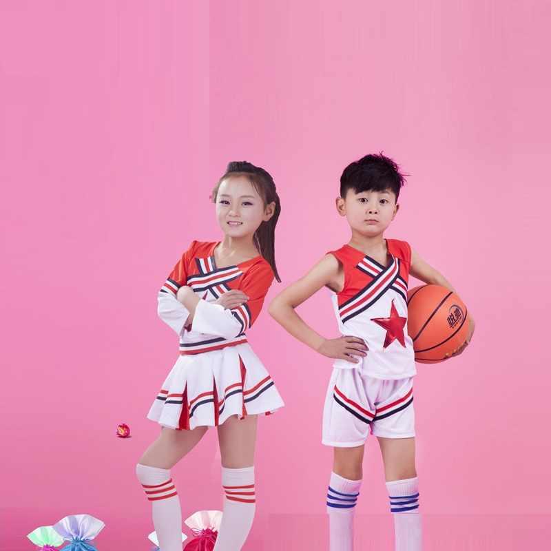 (2 шт. помпоны + 1 компл.. костюмы) косплэй Болельщицы Костюм Униформа школьников дети обувь для мальчиков девочек костюм Чирлидера