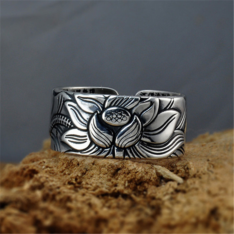 999 Sterling Silver Lotus Flower Ring 3