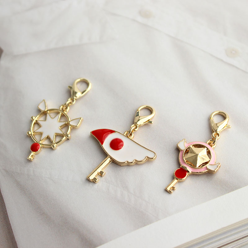 SANSUMMER Key Chains Cartoon Wings Key Chain Cute Star Ostrich Head Scepter Wings Key Ring Pendant Female's Accessories 5839