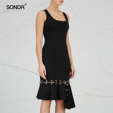 SONDR Irregular sleeveless patchwork metallic ring temperament dress black woman