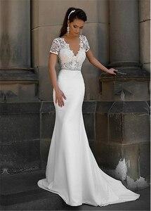 Image 3 - Junoesque laço & cetim decote em v vestidos de noiva sereia com bowknot mangas curtas vestidos de noiva
