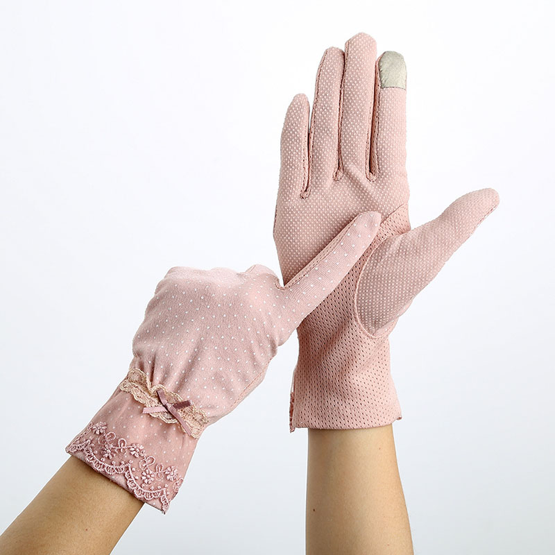Women Sunscreen Gloves Spring Summer Lace Stretch Touch Screen Glove Anti-UV Wrist Short Slip Resistant Driving Glove Size 23cm