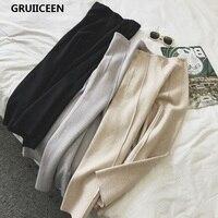 GRUIICEEN New 2017 Winter Knitted Women Pants Autumn Fashion High Waist Loose Ankle Length Wide Leg Pants High Waist Trousers