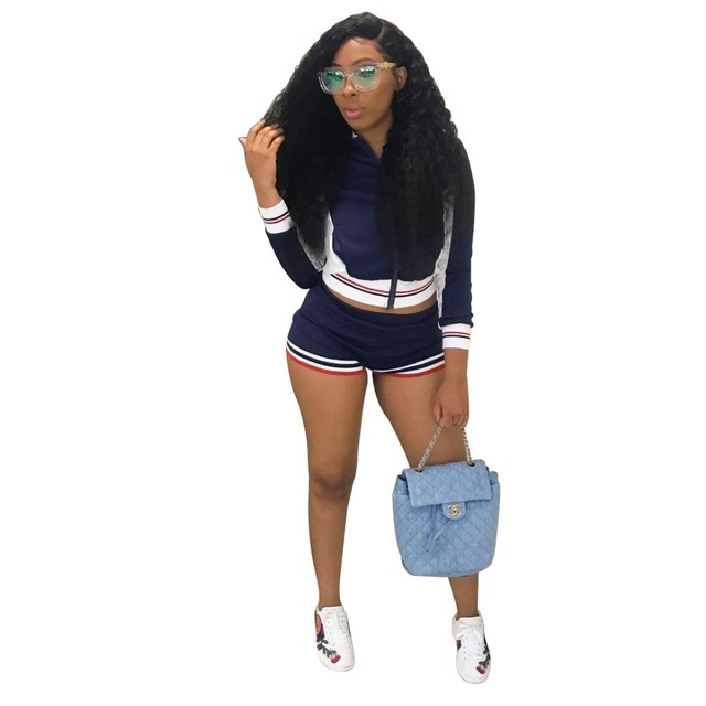 671e1aeba1e0 Zmvkgsoa Zipper Long Sleeve Top And Shorts For Women Tracksuit Stripe Suits  Outfit Two Piece Set Sporting Suit Sweatshirts Y1814