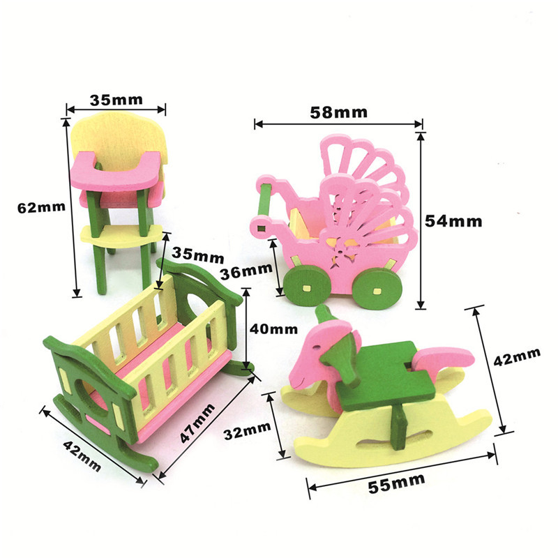 2018 New Baby Wooden Dollhouse Furniture Dolls House Miniature Child Play Toys Gifts #6